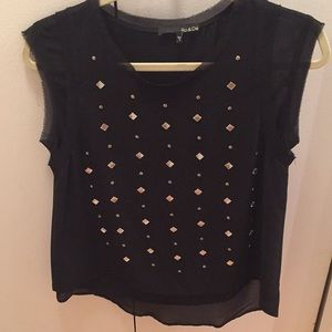 Black flowy sleeveless top with sparkle detail